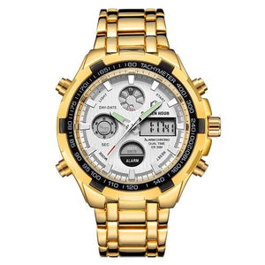 Stainless Steel Chronograph For Men Alarm And Back-Light Gold White
