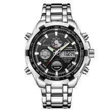 Load image into Gallery viewer, Stainless Steel Chronograph For Men Alarm And Back-Light Silver Black