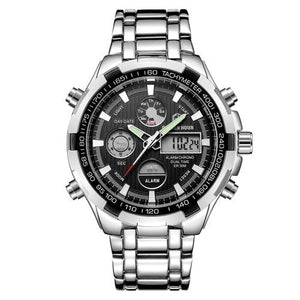 Stainless Steel Chronograph For Men Alarm And Back-Light Silver Black