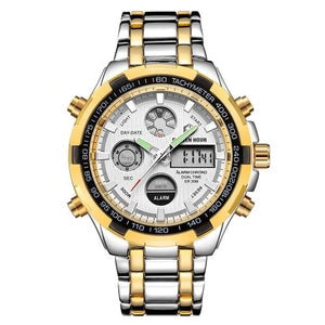 Stainless Steel Chronograph For Men Alarm And Back-Light Silver Gold White