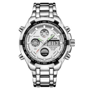 Stainless Steel Chronograph For Men Alarm And Back-Light Silver