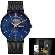 Load image into Gallery viewer, Stainless Steel Mesh Slim Mens Watch Black Blue