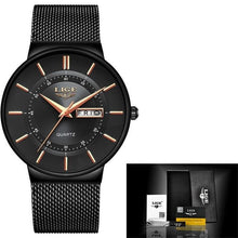 Load image into Gallery viewer, Stainless Steel Mesh Slim Mens Watch Black Gold