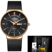 Load image into Gallery viewer, Stainless Steel Mesh Slim Mens Watch Black Rose Gold