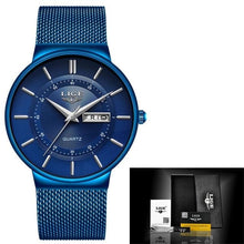 Load image into Gallery viewer, Stainless Steel Mesh Slim Mens Watch Blue