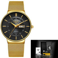 Load image into Gallery viewer, Stainless Steel Mesh Slim Mens Watch Gold