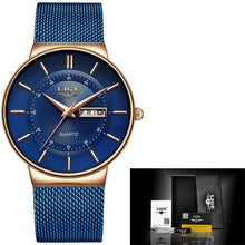 Load image into Gallery viewer, Stainless Steel Mesh Slim Mens Watch Rose Gold Blue