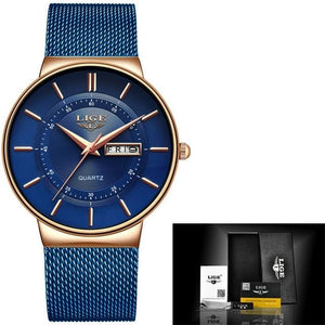 Stainless Steel Mesh Slim Mens Watch Rose Gold Blue