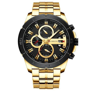 Steel Business Chronograph Luxury Watch For Men Gold Black