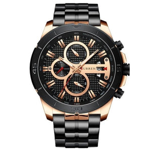 Steel Business Chronograph Luxury Watch For Men Rose Black
