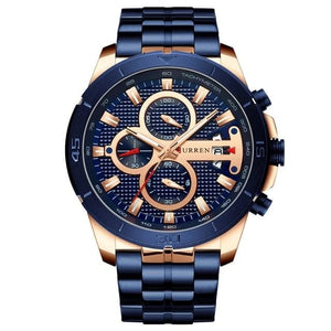 Steel Business Chronograph Luxury Watch For Men Rose Blue
