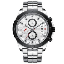 Load image into Gallery viewer, Steel Business Chronograph Luxury Watch For Men Silver White