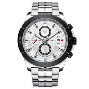 Steel Business Chronograph Luxury Watch For Men Silver White