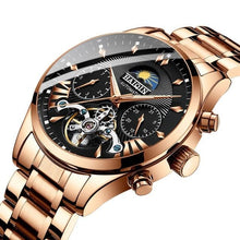 Load image into Gallery viewer, Steel Mechanical Tourbillon Skeleton For Men Gold Black