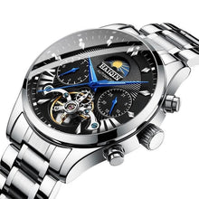 Load image into Gallery viewer, Steel Mechanical Tourbillon Skeleton For Men Silver Black