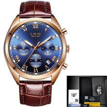 Load image into Gallery viewer, Stitched Leather Classic Watch For Men With Calendar Gold Blue