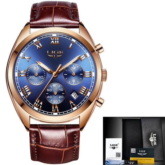 Stitched Leather Classic Watch For Men With Calendar Gold Blue