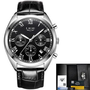 Stitched Leather Classic Watch For Men With Calendar Silver Black