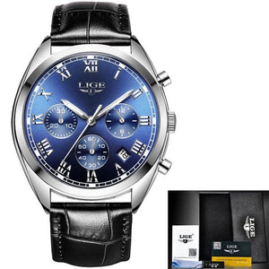 Stitched Leather Classic Watch For Men With Calendar Silver Blue
