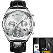 Load image into Gallery viewer, Stitched Leather Classic Watch For Men With Calendar Silver White