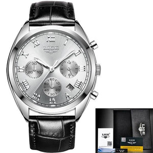 Stitched Leather Classic Watch For Men With Calendar Silver White