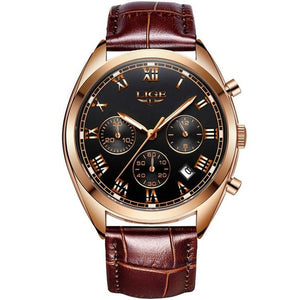 Stitched Leather Classic Watch For Men With Calendar