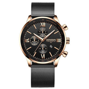 Stitched Steel Chronograph Watch For Men B