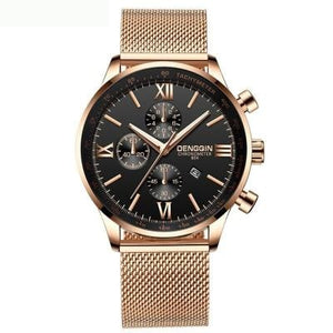 Stitched Steel Chronograph Watch For Men E