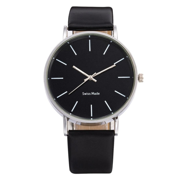 Swiss Fashion Minimal Mens Watch Black