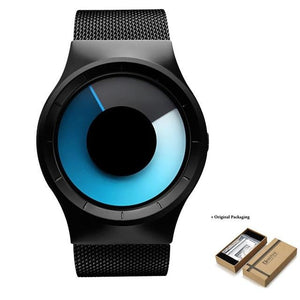 Unisex Futuristic Button-Less Slim Steel Watch A