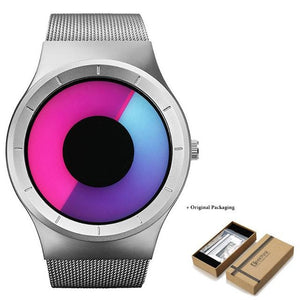 Unisex Futuristic Button-Less Slim Steel Watch K