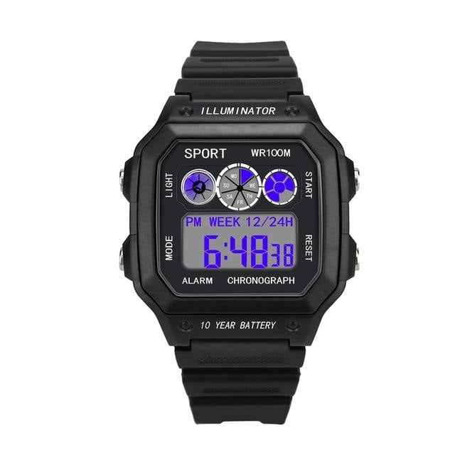 Vintage Led Sports Waterproof Chronograph Black