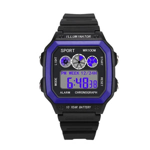 Vintage Led Sports Waterproof Chronograph Blue