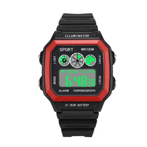 Vintage Led Sports Waterproof Chronograph Red