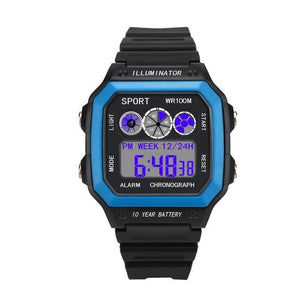 Vintage Led Sports Waterproof Chronograph Sky Blue