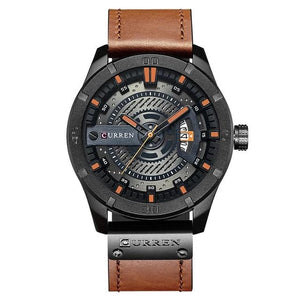 Washed-Out Casual Leather Watch For Men Black Orange