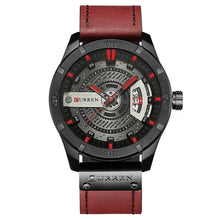 Load image into Gallery viewer, Washed-Out Casual Leather Watch For Men Black Red