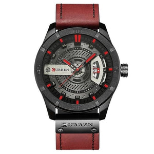 Washed-Out Casual Leather Watch For Men Black Red