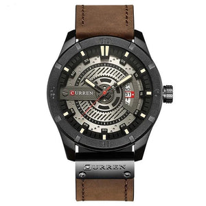 Washed-Out Casual Leather Watch For Men Black White