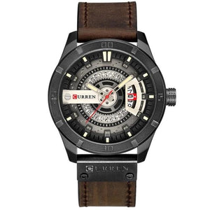 Washed-Out Casual Leather Watch For Men Black