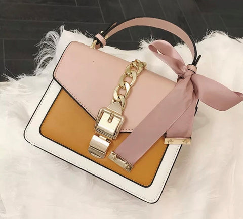 """Muse"" Bag - Pink/Tan"
