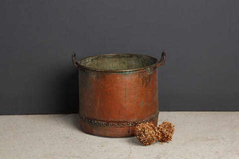 Large Copper Cooking Pot with Brass Handles
