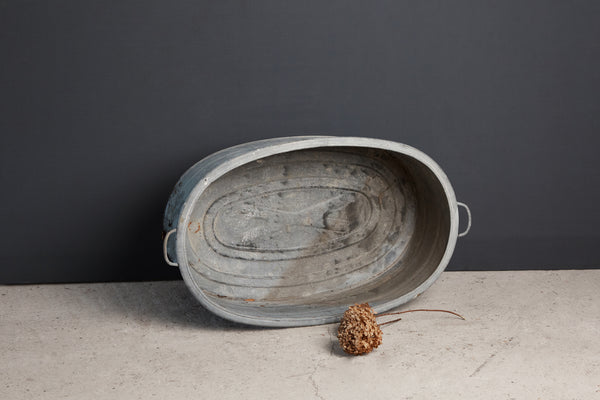 Large Oval French Zinc Farm Basin