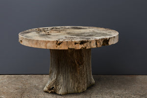 Large Round Garden Table with a Thick Hard Limestone Top on an Ulin Wood Natural Base