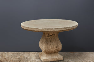 Round French Limestone Garden Table with a Pedestal Base
