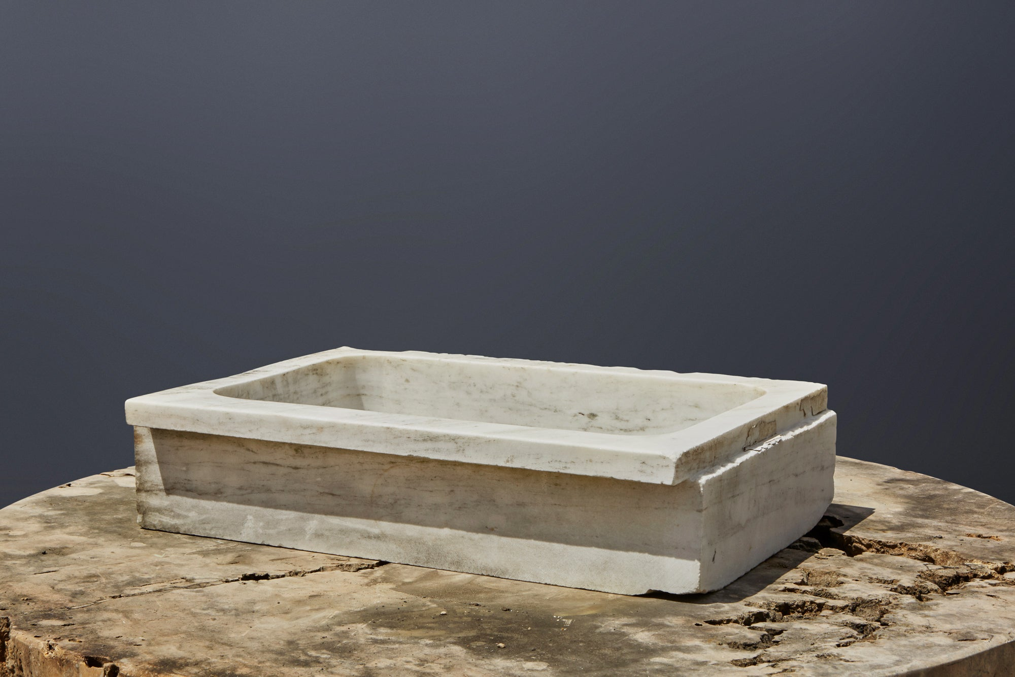 Early White Marble Greek Sink Carved from a Single Block
