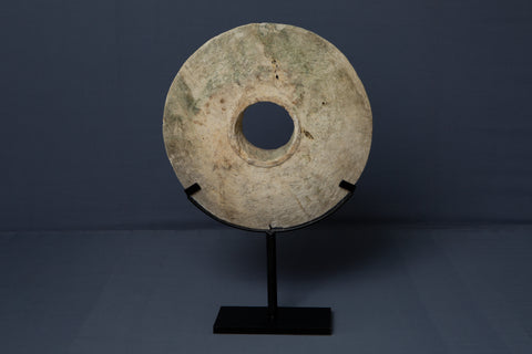 Large Limestone Wedding Disk from Borneo Mounted on an Iron Base