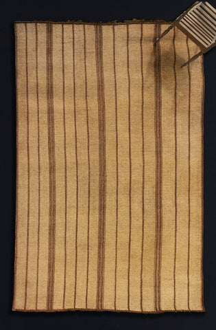 Large Stripped Leather & Reed Tuareg Carpet