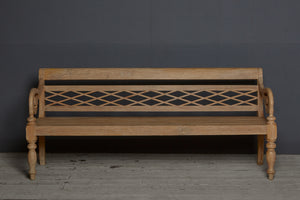 Diamond Lattice Back Dutch Colonial Teak Bench