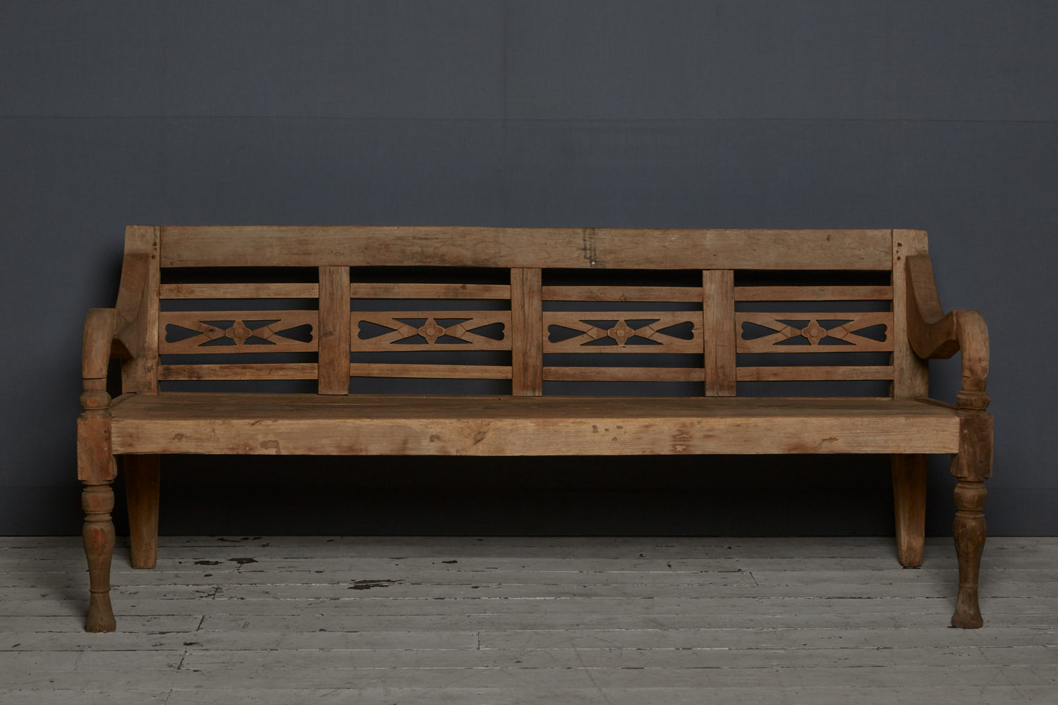 Strong Teak Dutch Colonial Bench from Jakarta